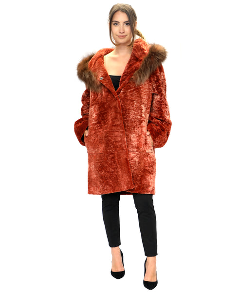 Zoom view for Reversible Shearling Coat w/ Raccoon Fur