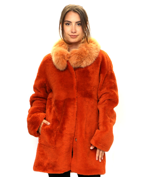 Zoom view for Reversible Shearling Jacket w/ Fox Fur Collar