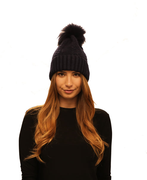 Cashmere Cable Knit Hat w/ Fox Fur Pom