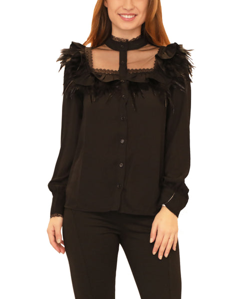 Blouse w/ Ruffles & Feathers