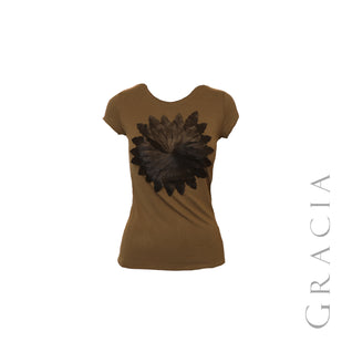 Floral Applique Short Sleeve Top