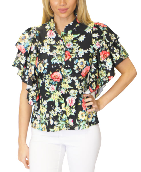 Zoom view for Floral Blouse w/ Tiered Ruffle Sleeves