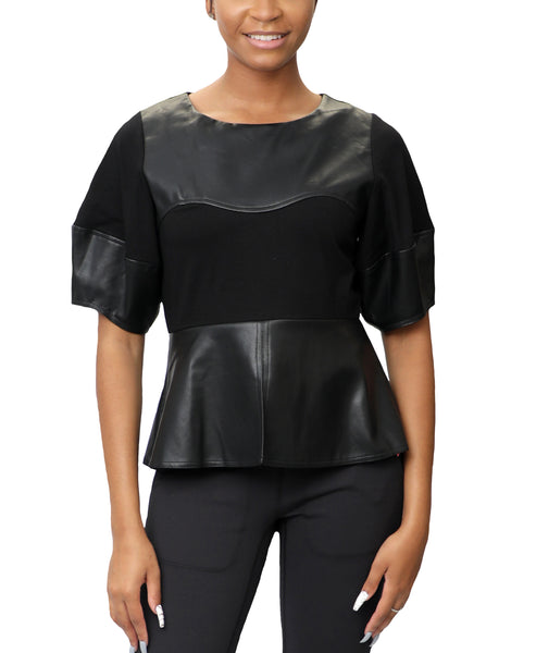 Zoom view for Faux Leather Peplum Top