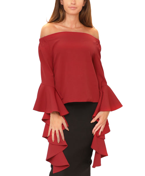 Off The Shoulder Blouse w/ Waterfall Sleeves