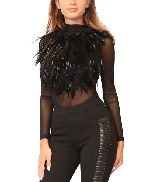 Mesh Top w/ Feathers