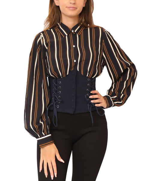 Striped Corset Blouse - Fox's