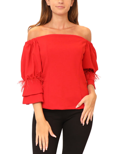 Off The Shoulder Blouse w/ Feathers