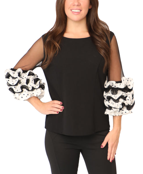 Blouse w/ Polka Dot Ruffle Sleeves - Fox's
