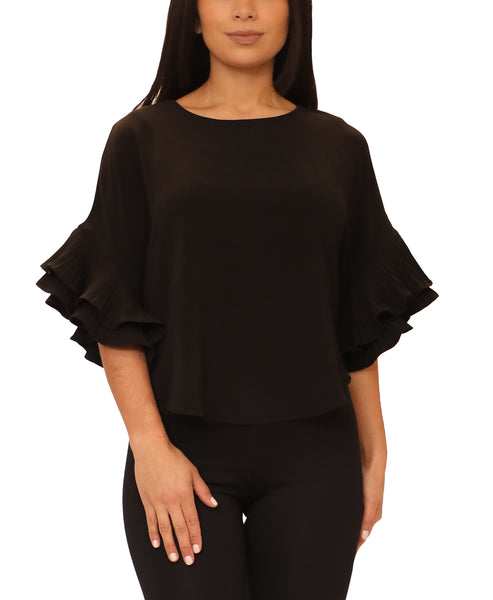 Pleated Tiered Sleeve Blouse - Fox's
