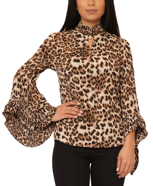 Leopard Blouse w/ Tiered Sleeves - Fox's