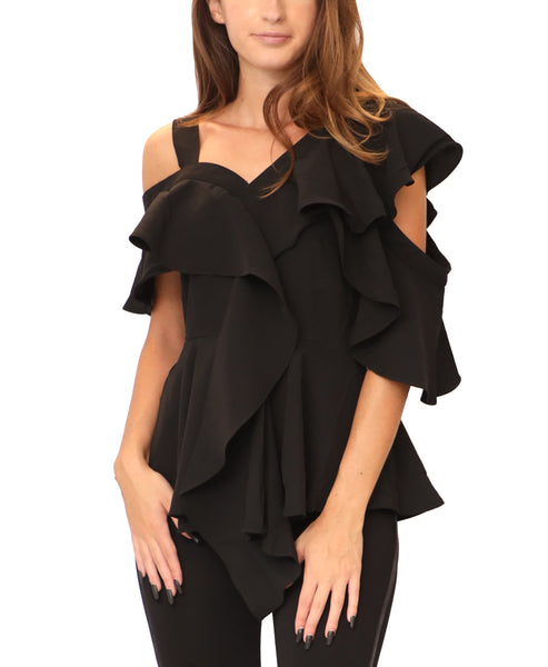 Cold Shoulder Ruffle Peplum Blouse - Fox's