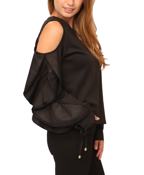 Cold Shoulder Top w/ Ruffle Detail