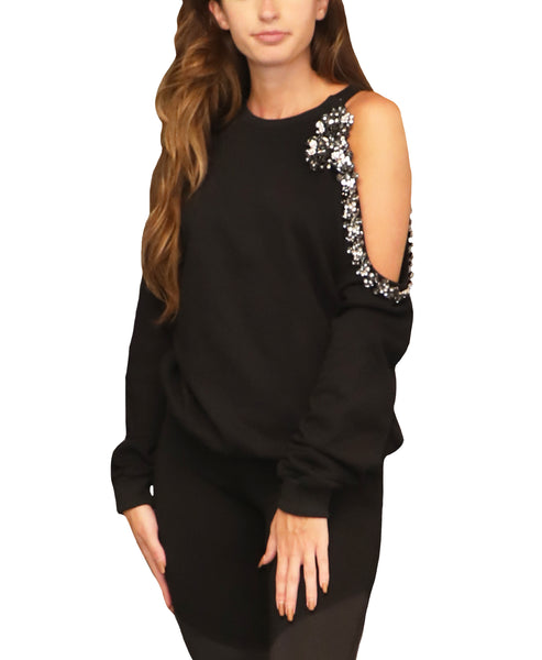 Cold Shoulder Sweatshirt w/ Jewels