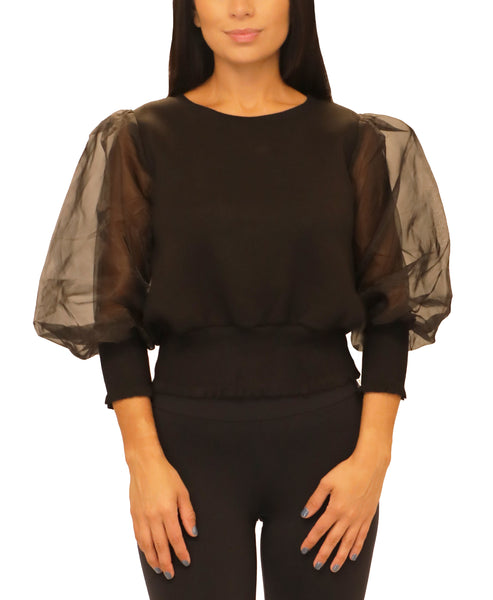 Scuba Top w/ Sheer Puff Sleeves - Fox's