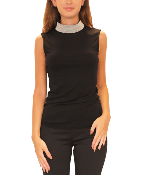 Beaded Mock Neck Sleeveless Top
