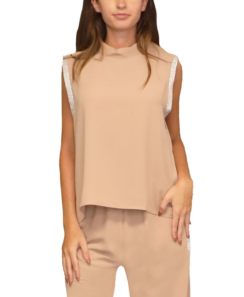 Hi-Lo Blouse w/ Lurex Trim