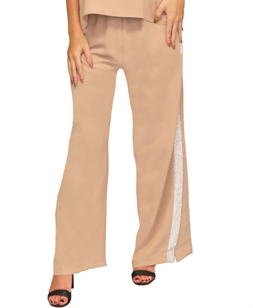 Wide Leg Pant w/ Lurex Trim