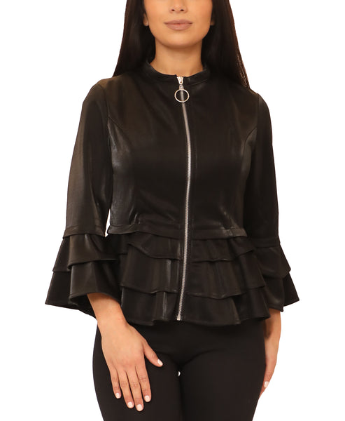 Peplum Shimmer Top w/ Tiered Sleeves - Fox's