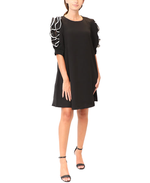 A-line Shift Dress w/ Ruffle Sleeves