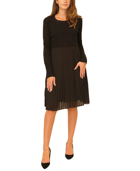 Popover Sweater Dress w/ Pleated Bottom