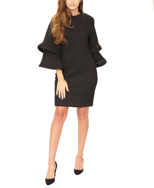 Textured Knit Dress w/ Tiered Sleeves