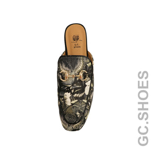 Butterfly Printed Flat Mule