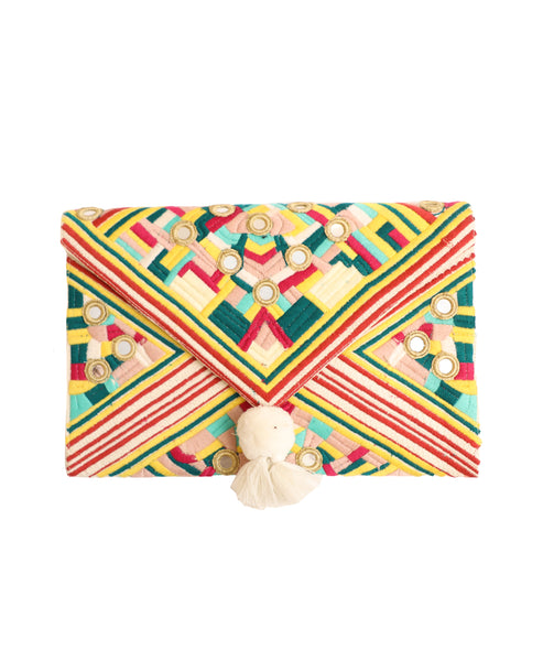 Envelope Flap Clutch w/ Embroidery