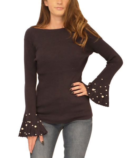 Ribbed Sweater w/ Pearl Bell Sleeves