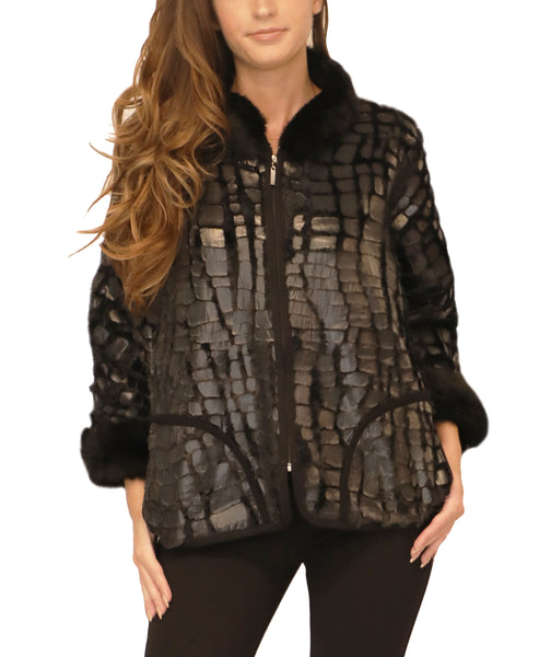 Animal Patterned Jacket w/ Fur Trim