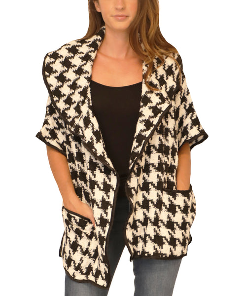Draped Front Houndstooth Cardigan