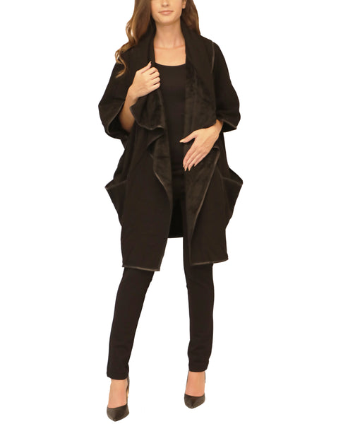 Draped Front Cape w/ Faux Shearling