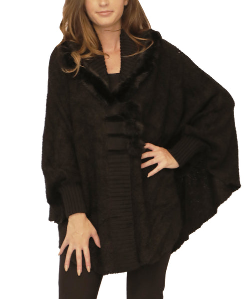 Knit Cape w/ Genuine Rabbit Fur Trim