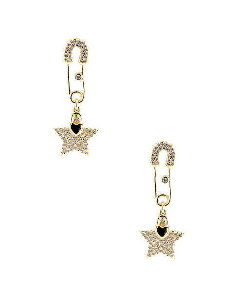 Zoom view for Safety Pin Earrings w/ Star