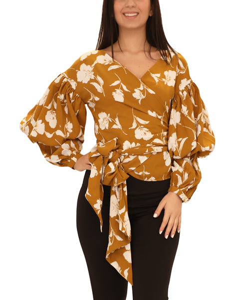 Floral Wrap Blouse w/ Puff Sleeves