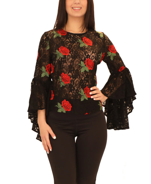 Lace Top w/ Embroidered Roses