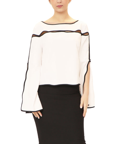 Contrast Trim Blouse w/ Cutouts