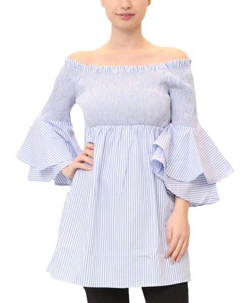 Off The Shoulder Pinstripe Tunic Top