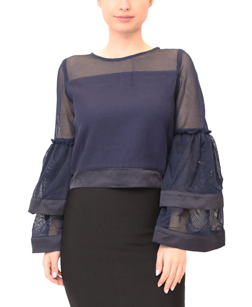 Mesh Top w/ Tiered Bell Sleeves