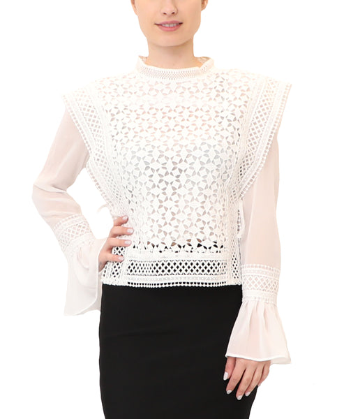 Crochet Popover Blouse w/ Bell Sleeves