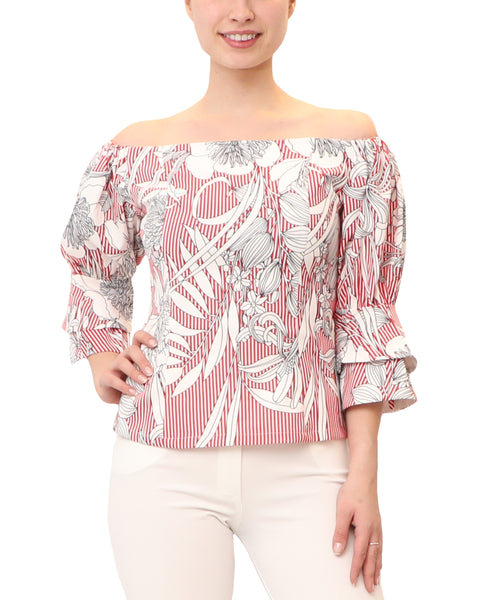 Off The Shoulder Stripe & Floral Blouse