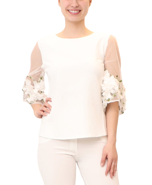 Blouse w/ Floral Sleeves