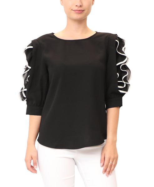 Blouse w/ Contrast Ruffle Sleeves