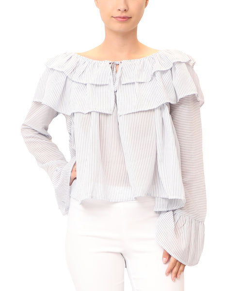 Stripe Top w/ Ruffles
