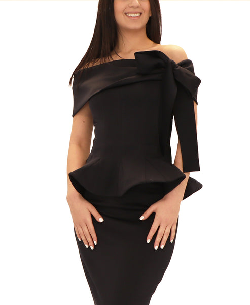 Off The Shoulder Peplum Scuba Top