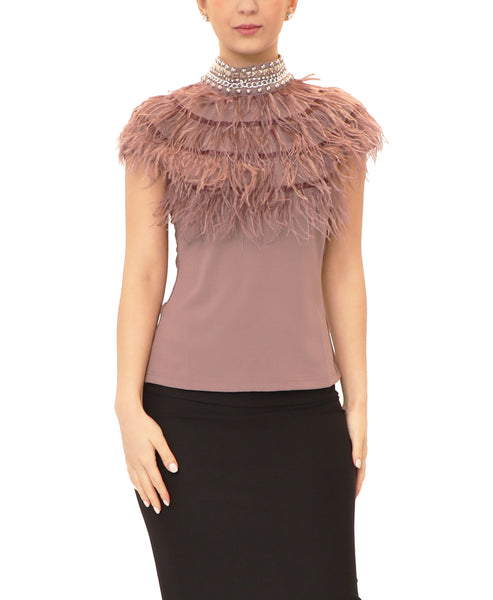 Feather Top w/ Embellished Mock Neck