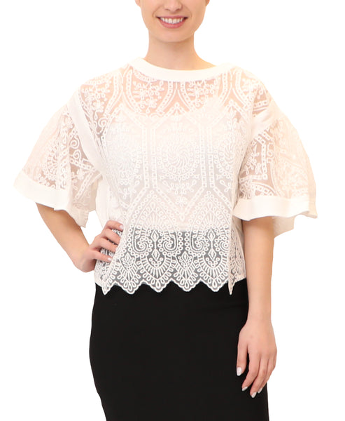 Short Sleeve Sheer Lace Top