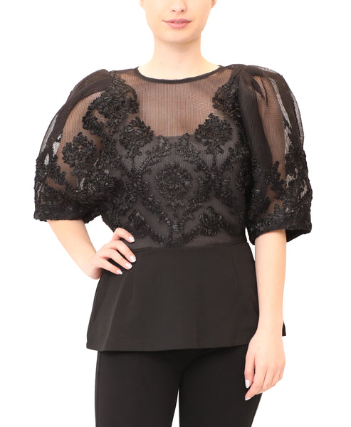Mesh Net Top w/ Puff Sleeve