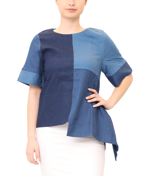 Denim Patchwork Asymmetrical Top