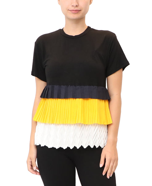 Pleated Tiered Colorblock Top