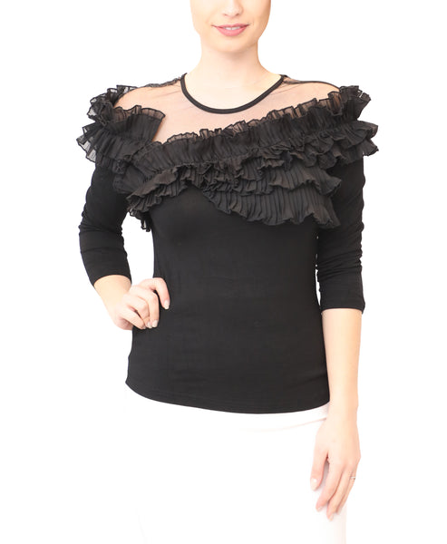 Top w/ Pleated Ruffles